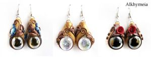 Drop of a Dream surrounded by Nature, the earrings by Alkhymeia
