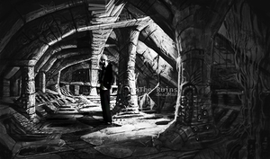 The Ruins Black and White by 13deadman