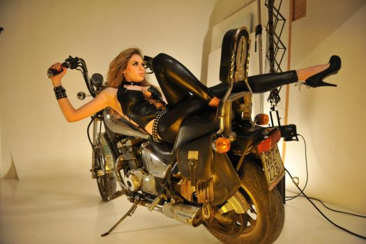 CrowsReign:Girl on a motorcycle 1 by CrowsReign-Stock