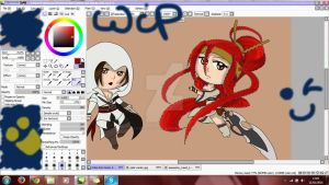 WIP COLO chibi Ezio and Nariko by x-Dragonqueen-x
