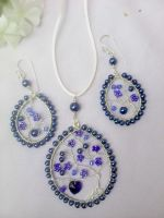 Blue pendant and earring by Mirtus63