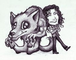 Michael Jackson and a Werewolf by ChaoticInsanity13