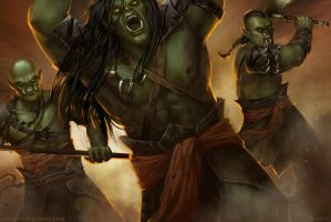 Sword Daughter: A Battle with Orcs by kimsokol