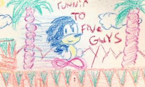 Sonic runnin to Five Guys doodle by JOSHDILISI