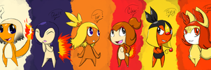 Pokeron Fire Starters by TaiitheDecepticaon