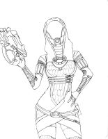 Tali sketch line art by Fishbeef