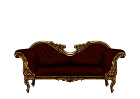 Baroque Sofa in Dark Red PNG by Yagellonica