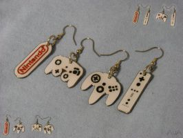 Nintendo Earrings by westiepup