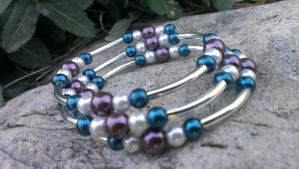 Blue, White And Purple Pearl Memory Wire by Rini-Dragoone
