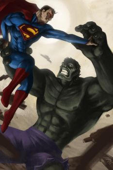 Superman vs Hulk by JHUBS
