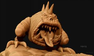 Squig Sculpt for polycount Art Jam by Paulp3D
