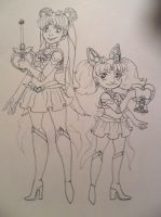 Moon and Chibi Moon Lineart by jojo263