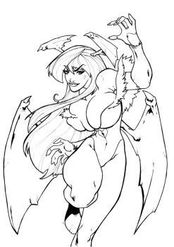 Darkstalkers BW: Morrigan by Peter-the-Tomato