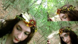 Velvet Wood Nymph Floral Crown by ValkyrieOfODIN