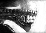 Alien Profile Drawing by Unttin7