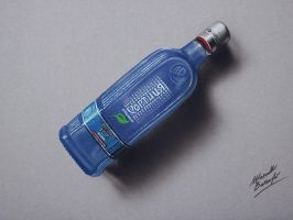 Drawing: a bottle of Vodka Khortytsa Ice by marcellobarenghi