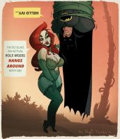 Poison Ivy and Batman - Cartoon PinUp by HugoTendaz