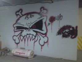 Skull Graffiti Wall by madjokerz
