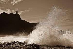 Raging sea sepia by DostorJ