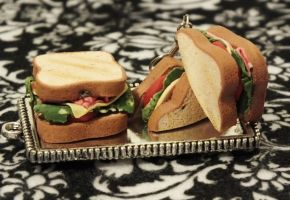 Toasty Sandwich Earrings and Pendant by immaculateconfection