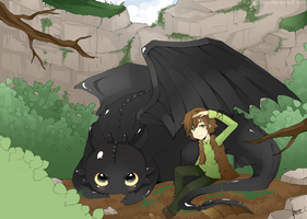 Toothless and Hiccup by kazeichiru