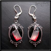 Bloody Meat Cleaver Earrings by Horribell-Originals