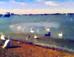 Swans in summer by Jessica-Hirst
