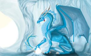 Dragon in IceCave by LarimarDragon