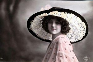 Vintage postcard girl and hat by MementoMori-stock