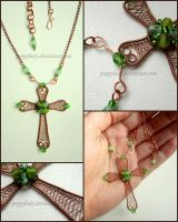 Green Cross pendant by PoppyLady