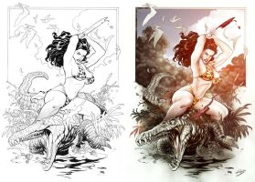 Frank Cho Art_Color by Otavio by bennyotavio