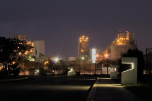 factory on a pretty night by laloxxx