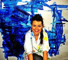 me and my blue painting by MilenkovicBiljana