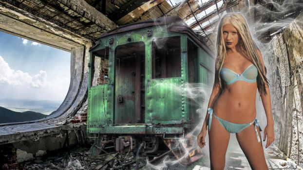 Christina Aguilera in Abandoned place by raydwallpapers