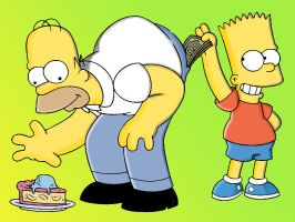 Homer and Bart Simpson by Tusaara