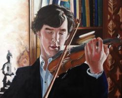 Sherlock and Violin - Light and Shade by SheenaBeresford