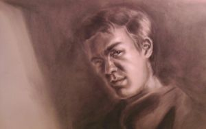 Self-portrait Charcoal on toned paper by MJHinrichs