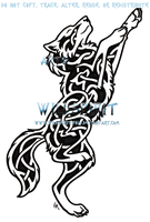 Knotwork Dancing Wolf Tattoo by WildSpiritWolf