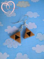Triforce earrings by ilikeshiniesfakery