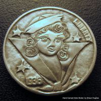 Navy Pinup Sailor Jerry Tattoo Coin Carving by shaun750