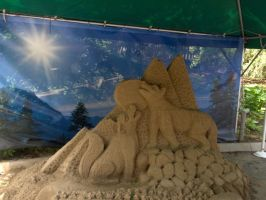 Mexcian Wolf Sand Sculpture by InoXItachi