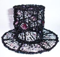 Mini Top Hat of wire and beads by Ashimjara