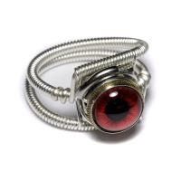 Cyberpunk Jewelry Red Eye Ring by CatherinetteRings