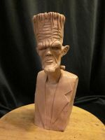 Stylized Frankenstein bust1WIP by Blairsculpture
