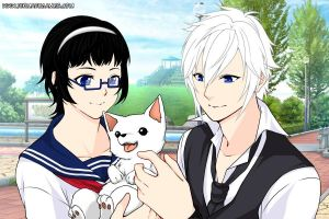 Sister and brother with brother's pet. by liongirl2289