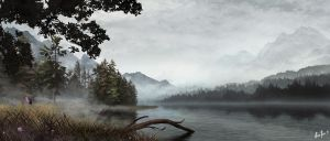 Misty Lake by LordDoomhammer