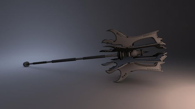 Battle mace- Wire frame render by JWright-3D-Graphics