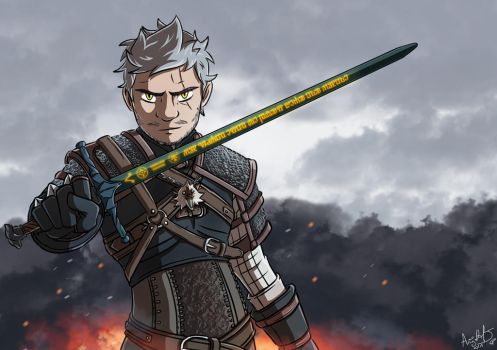 Mathieu SOMMET is Geralt of Rivia (Birthday Gift) by AngelMJ
