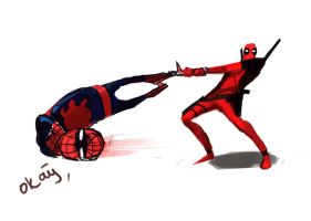 deadpool vs spiderman by shinigami139