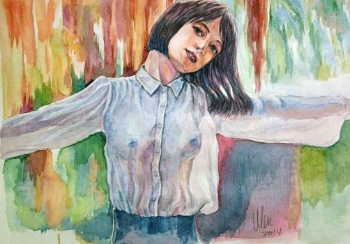 Watercolor Sexy Girl by tman2009